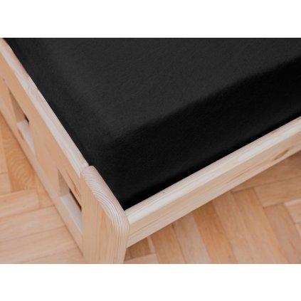 prostěradlo bavlněné jersey žerzejové dvoulůžko 180 x 200 cm černé