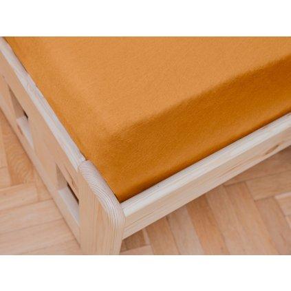 prostěradlo bavlněné jersey žerzejové dvoulůžko 180 x 200 cm meruňkové oranžové