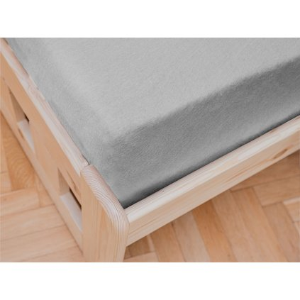 Jersey prostěradlo světle šedé 180 x 200 cm
