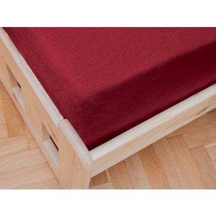 prostěradlo bavlněné jersey žerzejové dvoulůžko 180 x 200 cm vínové červené