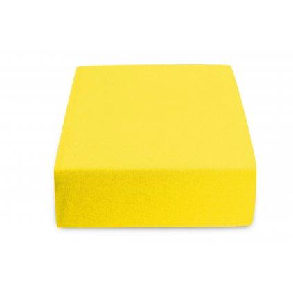 prostěradlo bavlněné jersey žerzejové dvoulůžko 180 x 200 cm žluté
