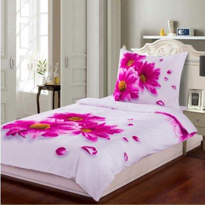 3D povlečení fotopotisk fototisk bílé růžové fuchsiové květiny květy chryzantémy kopretiny gerbery romantické