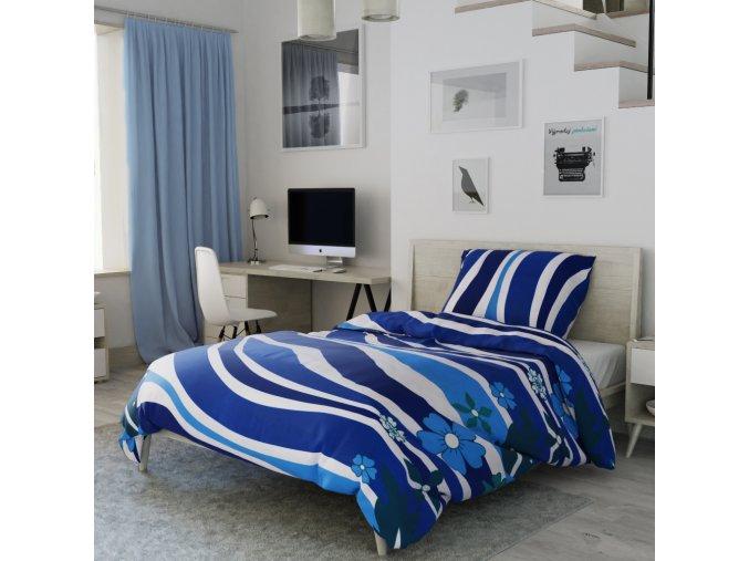 Flanelové povlečení modré tyrkysové vlny květiny vlnky květy moře
