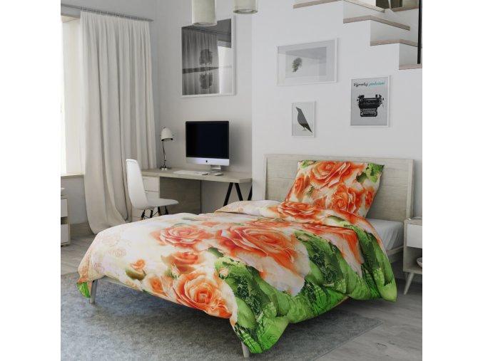 Bavlněné 3D povlečení fotopotisk fototisk zelené oranžové květiny květy růže romatické