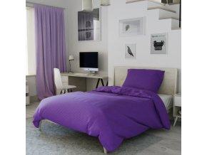 Bavlněné povlečení fialové pruhy jednobarevné