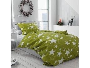 Povlečení mikroplyš bílé zelené hvězdy hvězdičky vánoční moderní vánoce