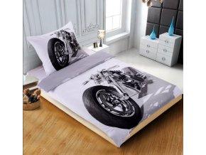 3D povlečení fotopotisk fototisk šedé bílé černé motorka motocykl chopper kluky kluci dětské