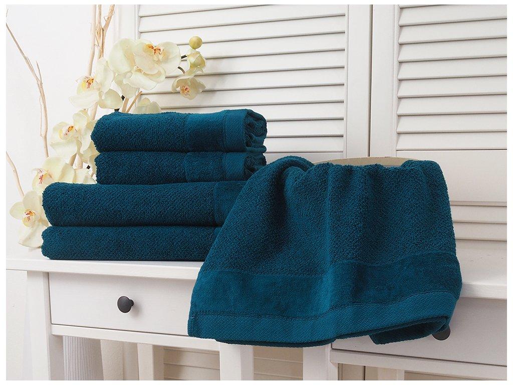 Bavlněný froté ručník 50x90 Vito - Turquise Dark