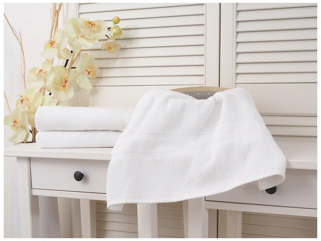 Bavlněný froté ručník 50x100 Hotel s bordurou - Bílý