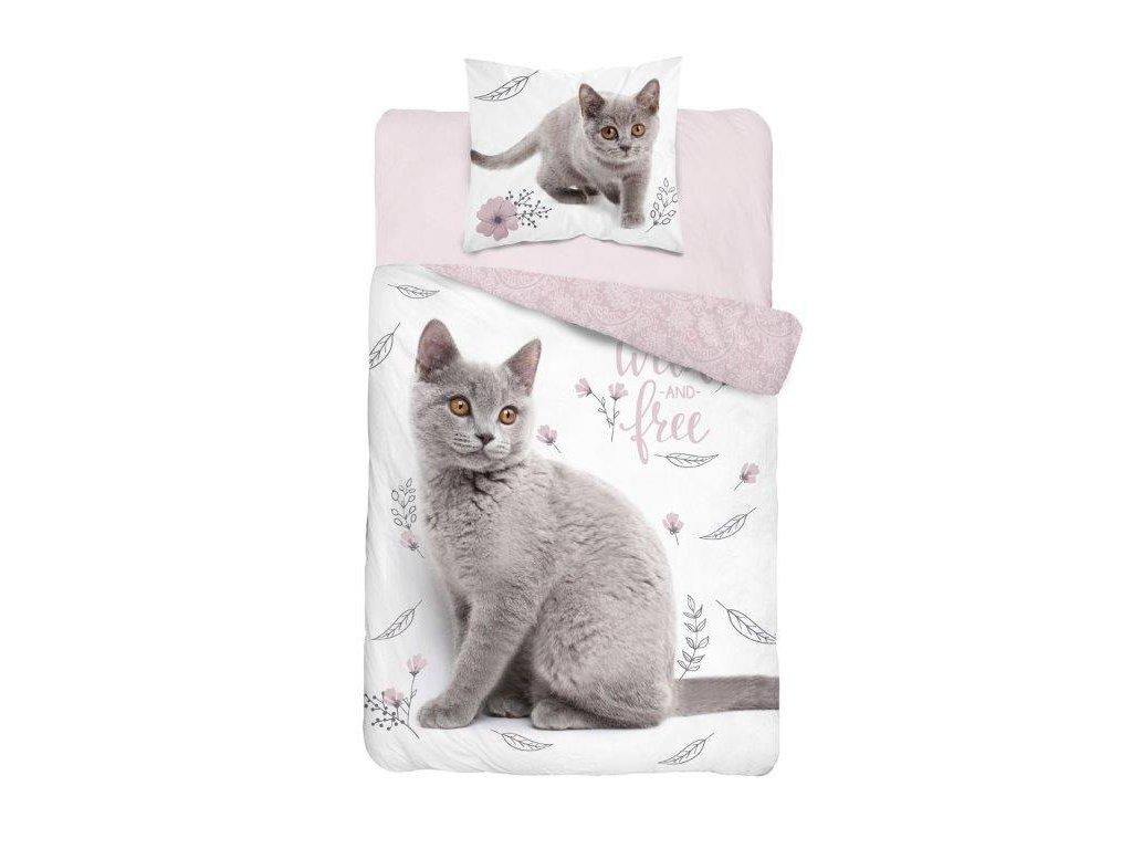 Bavlněné povlečení 3D fototisk se zipem 140x200+70x80 Sweet kočička