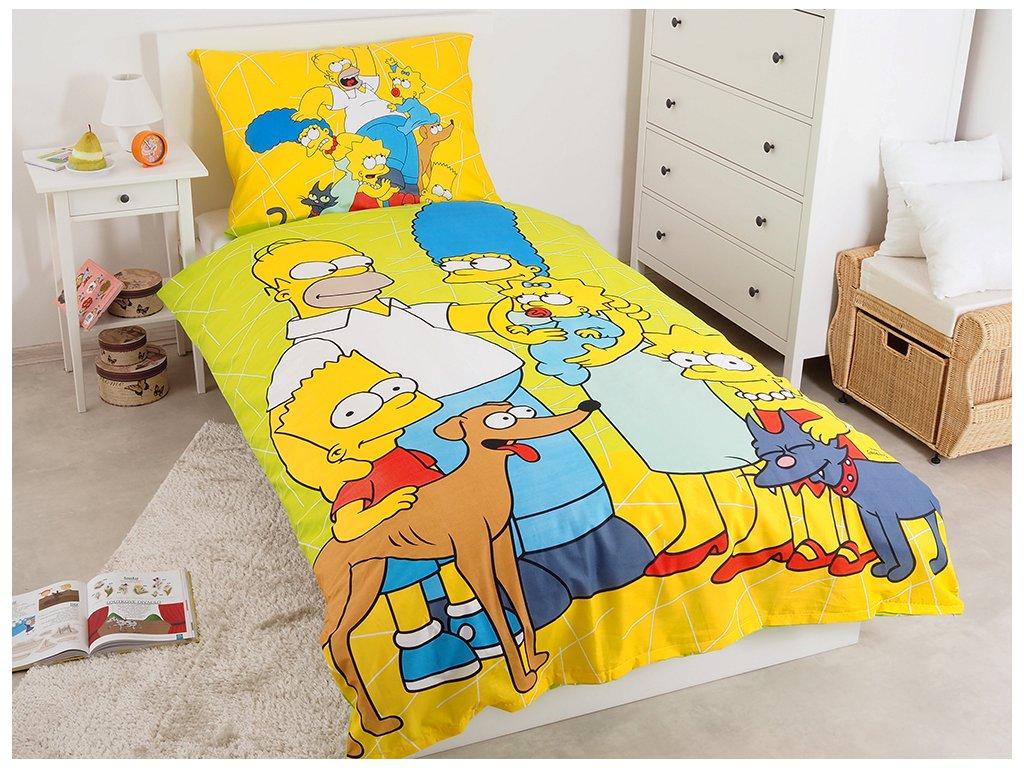 Bavlněné dětské povlečení The Simpsons Family Green 02 140x200