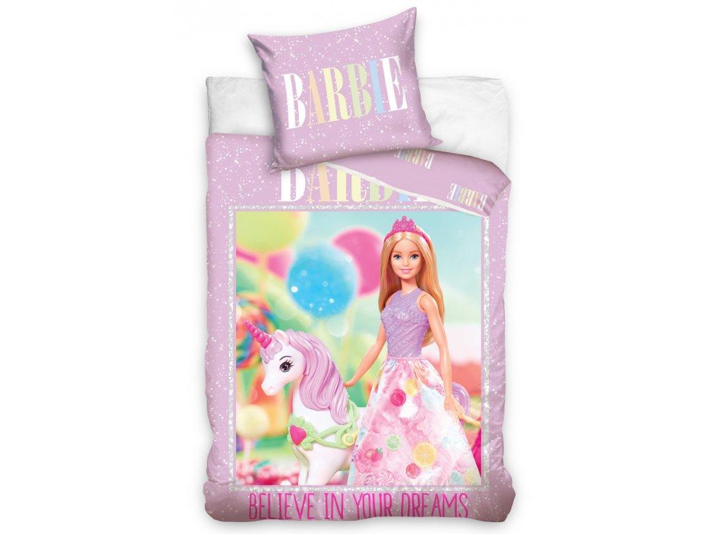 Bavlněné povlečení 140x200 + 70x90 cm - Barbie a jednorožec