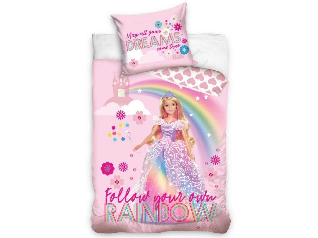 Dětské licenční bavlněné povlečení 140x200+70x90 - Barbie Duhová Princezna