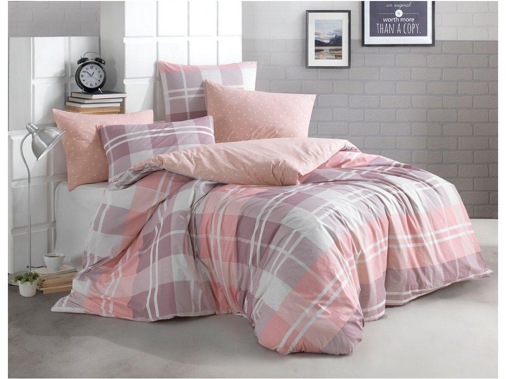 Bavlněné povlečení 140x200 + 70x90 cm - Mark růžové