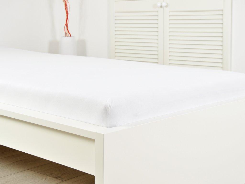 Jersey elastické prostěradlo s gumou bílé 140x200 (170g/m2)