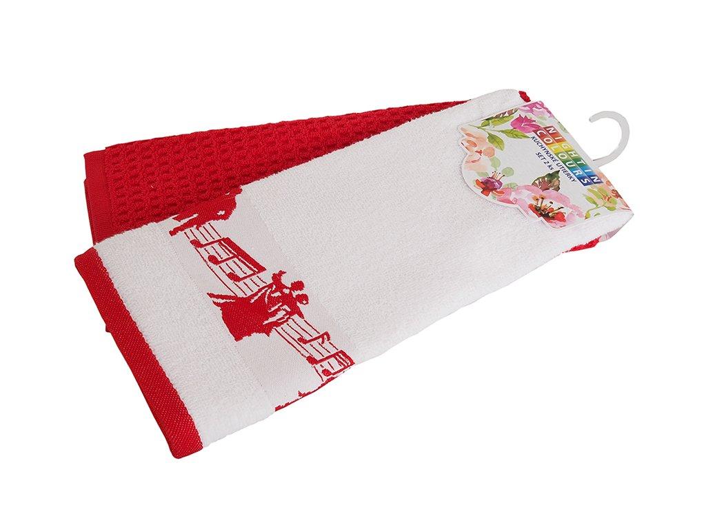 12449 bavlnene kuchynske uterky 2 kusy v baleni noty cervena 40x60 cm