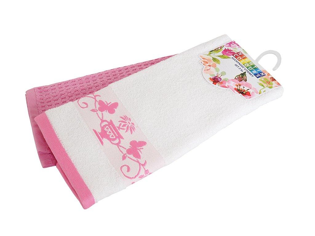 Bavlněné kuchyňské utěrky 2 kusy v balení Oáza růžová 40x60 cm