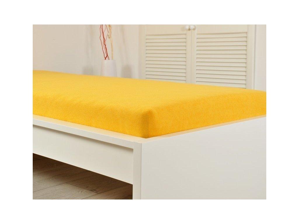 Sytě žluté prostěradlo Jersey elastické 200x220 s gumou