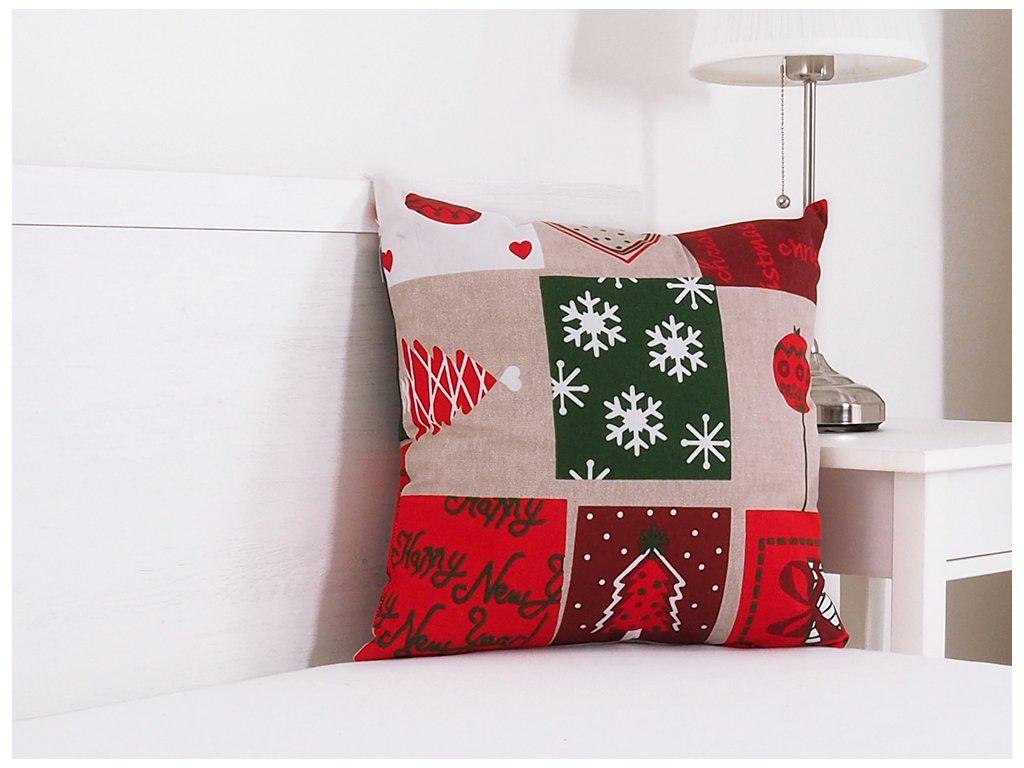 Vánoční dekorační polštářek 45x45 - Vánoční patchwork