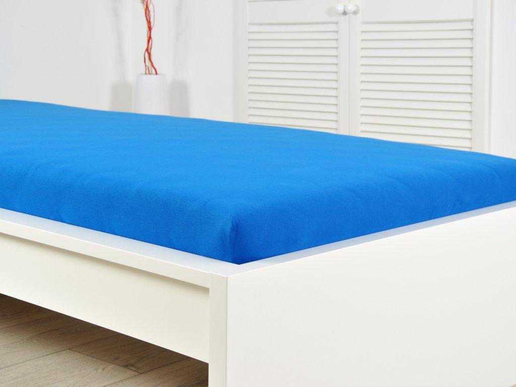 Jersey elastické prostěradlo 140x200 s gumou královská modř (170g/m2)