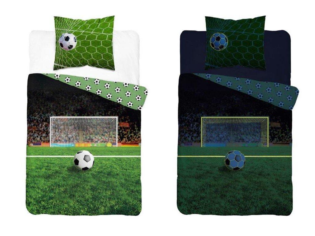 Bavlněné povlečení svíticí ve tmě Fotbal 140x200 + 70x80 cm