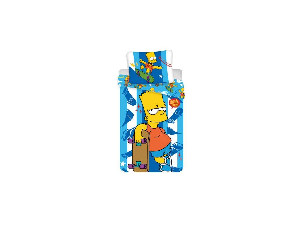 Bavlněné povlečení 140x200 + 70x90 cm - The Simpsons Bart Skater
