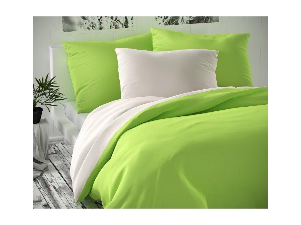 satenove francouzske povleceni luxury collection 1 2 200x200 70x90cm bile svetle zelene 0