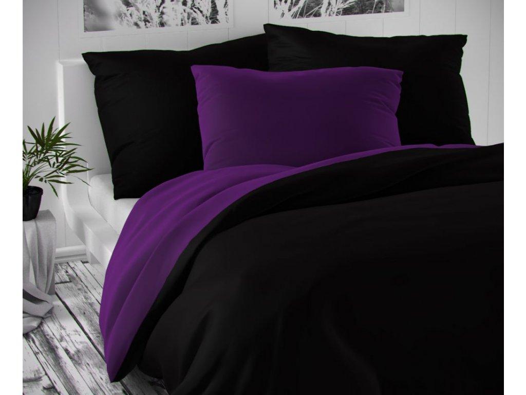 satenove povleceni luxury collection 140x200 70x90cm cerne tmave fialove 0