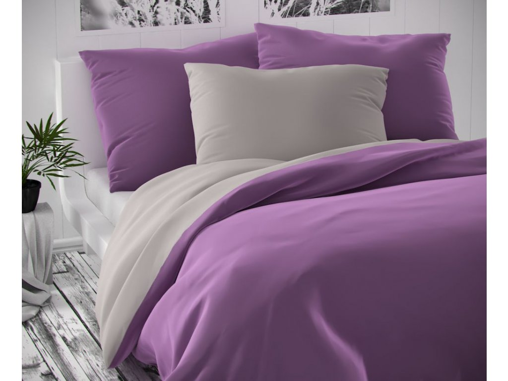satenove povleceni luxury collection 140x200 70x90cm svetle sede fialove 0