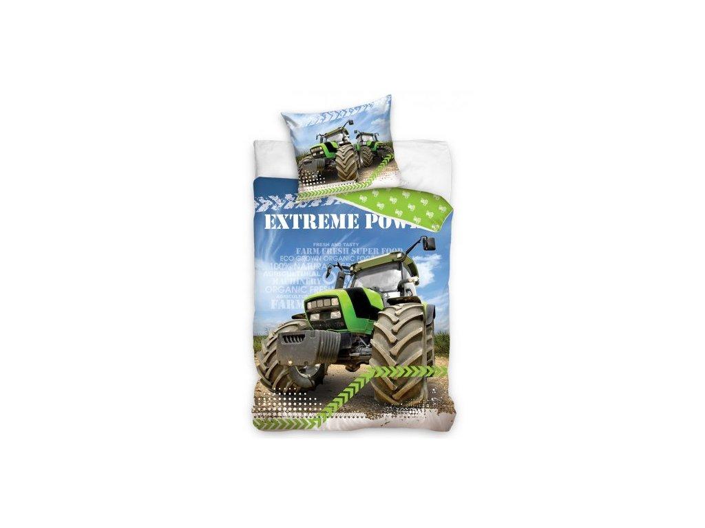 Bavlněné povlečení 140x200 + 70x90 cm - Zelený traktor