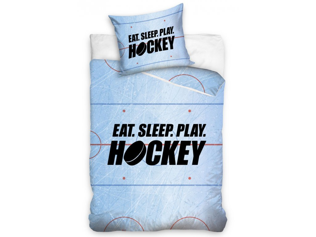 Bavlněné povlečení 140x200 + 70x90 cm - Eat Sleep Play Hockey