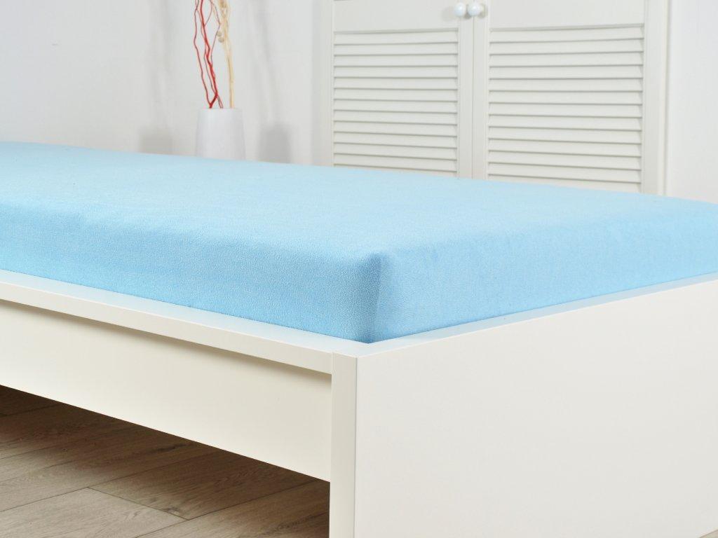 Světle modré prostěradlo z froté 180x200 (190g/m2)