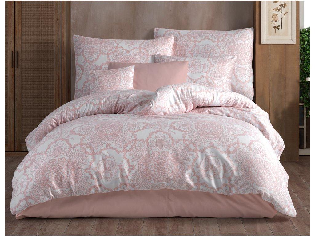 Bavlněné povlečení 140x200 + 70x90 cm - Lisle růžové