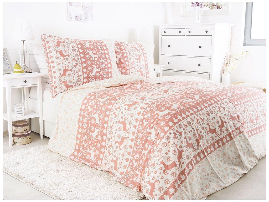 3450 1 vanocni bavlnene povleceni ceske vyroby 140x200 vanoce pink