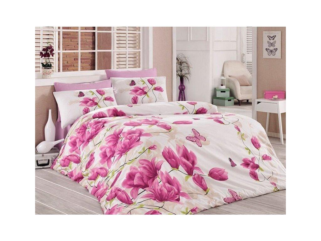 Luxusní povlečení bavlna Renforcé Mokara lila 140x200 + 2x povlak na polštář