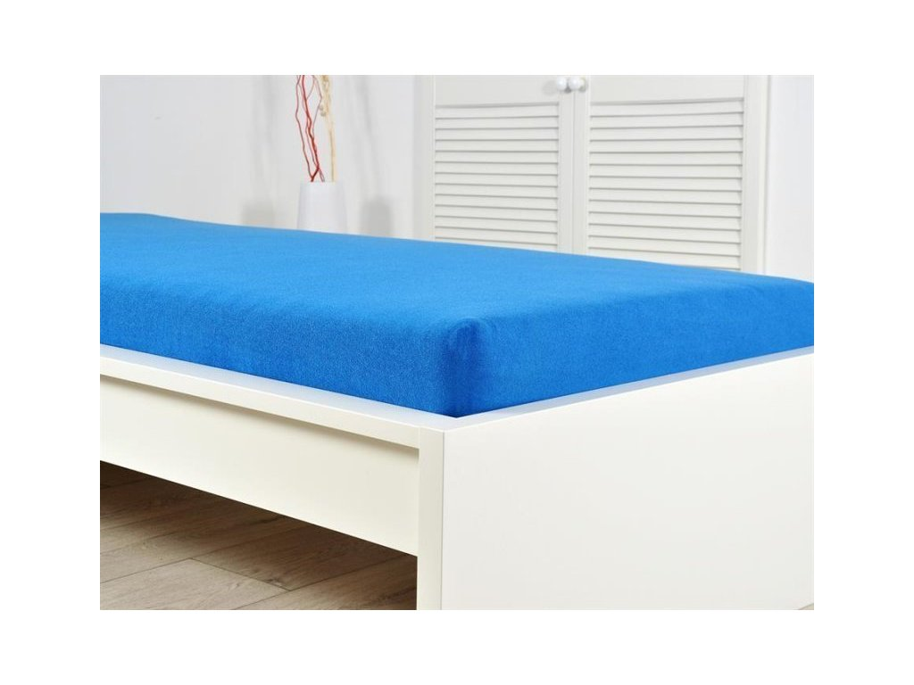 Froté elastické prostěradlo 160 x 200 cm královská modrá (190g/m2)