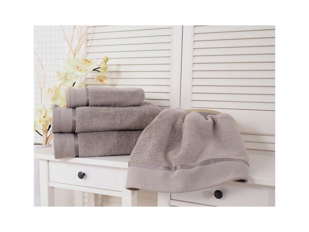 Bavlněný ručník froté šedý 50x100 Fluffy (500g/m2)