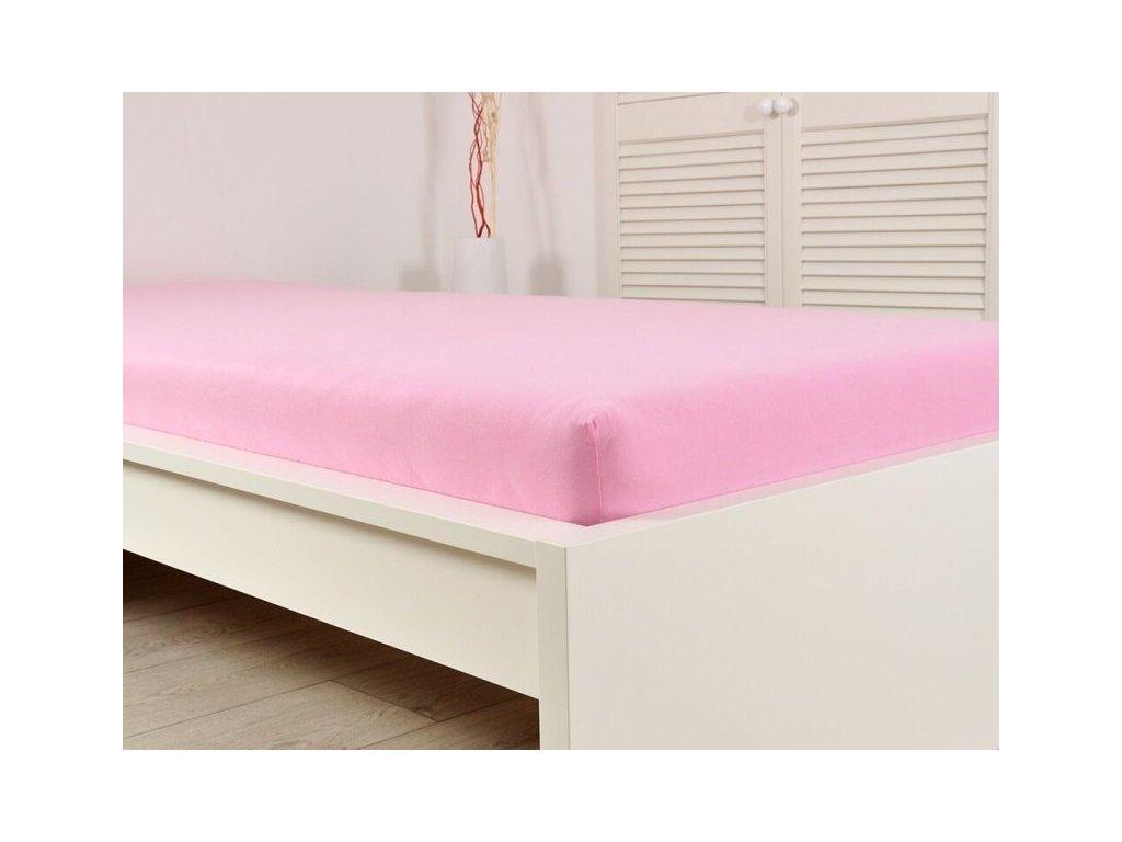 Prostěradlo Jersey česaná bavlna MAKO 140-160x200 cm - Růžová