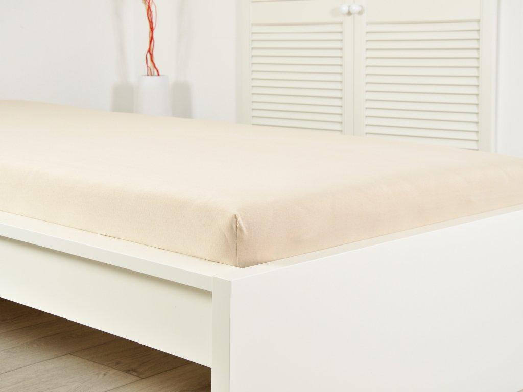Jersey elastické prostěradlo 140x200 s gumou bílá káva (170g/m2)