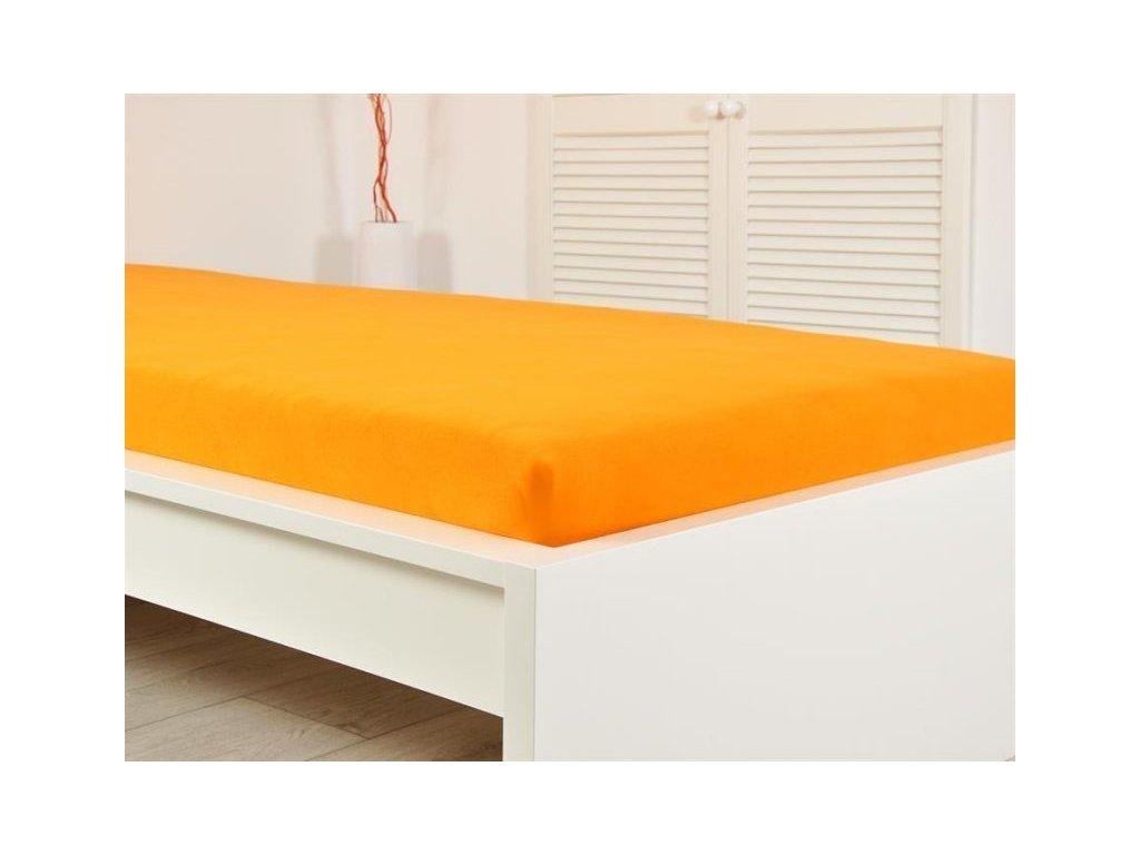 Jersey elastické prostěradlo oranžové 160x200 s gumou (170g/m2)