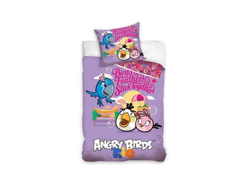 Dětské povlečení z bavlny Angry Birds kamarádi 140x200