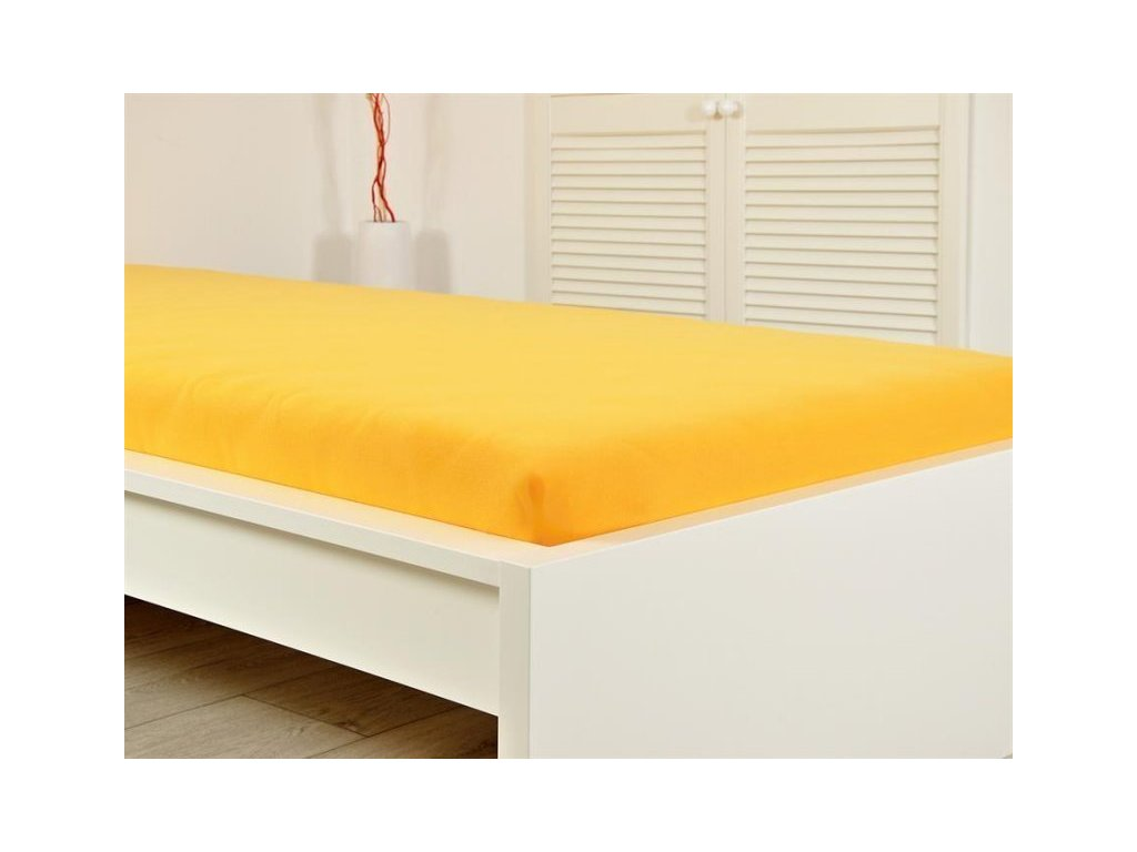 Jersey napínací prostěradlo sytě žluté 160x200 s gumou (170g/m2)