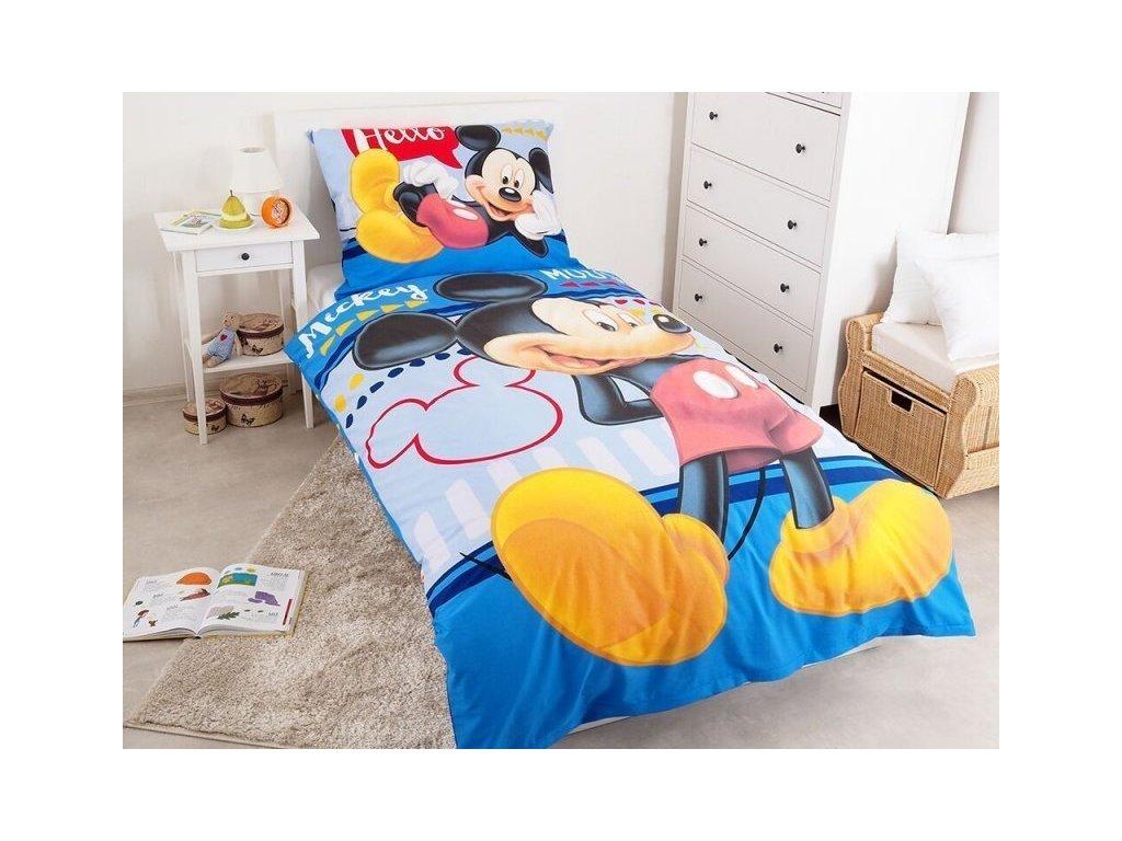Bavlněné povlečení 140x200 + 70x90 cm - Mickey Hello