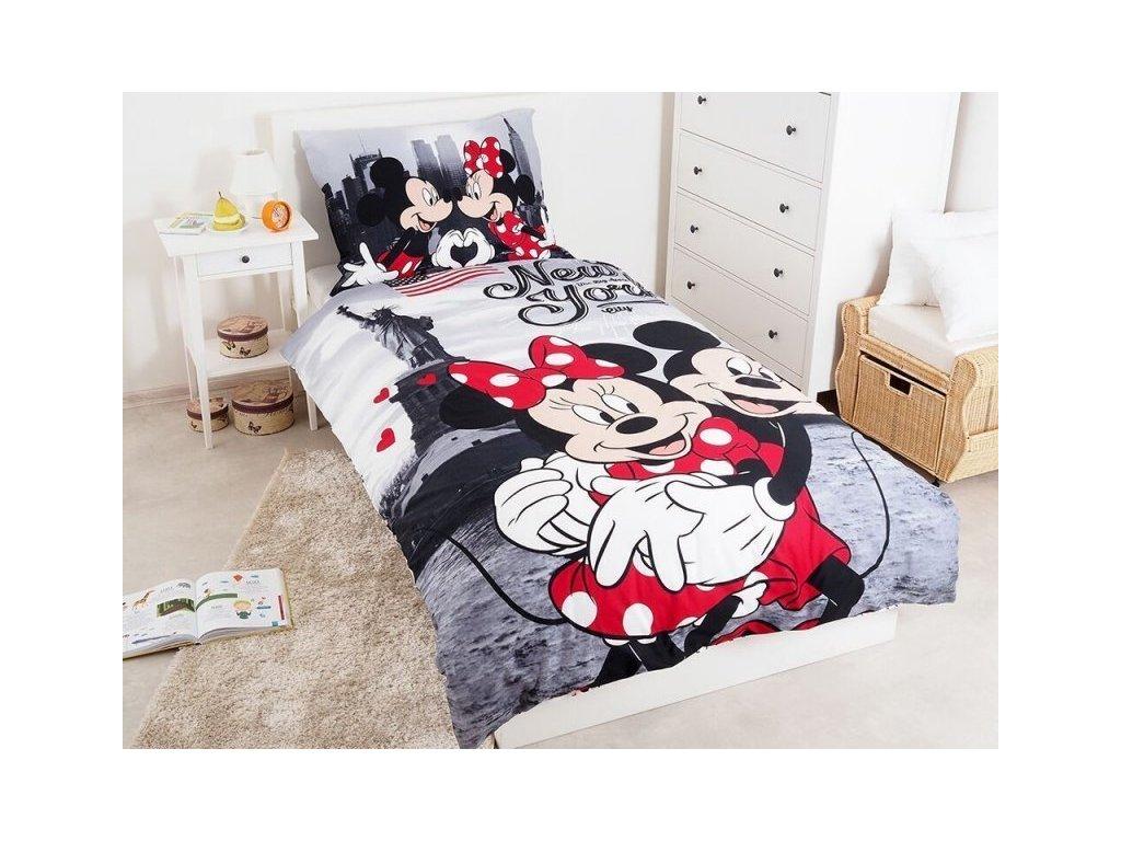Bavlněné povlečení 140x200 + 70x90 cm - Mickey a Minnie v New Yorku