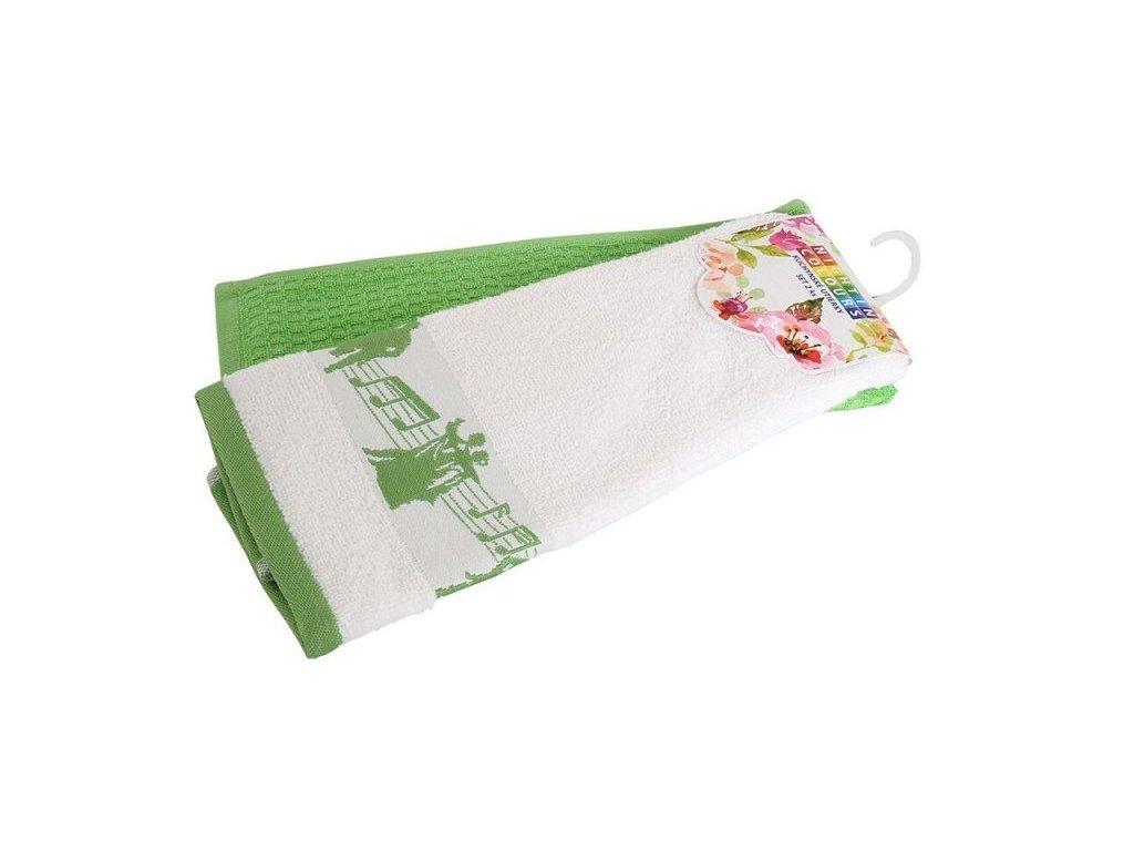 4157 bavlnene kuchynske uterky 2 kusy v baleni noty zelena 40x60 cm