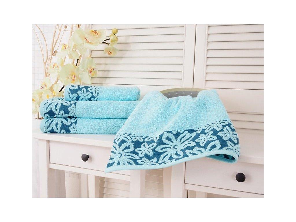 Froté ručník s výšivkou Flower světle tyrkysová 50x90