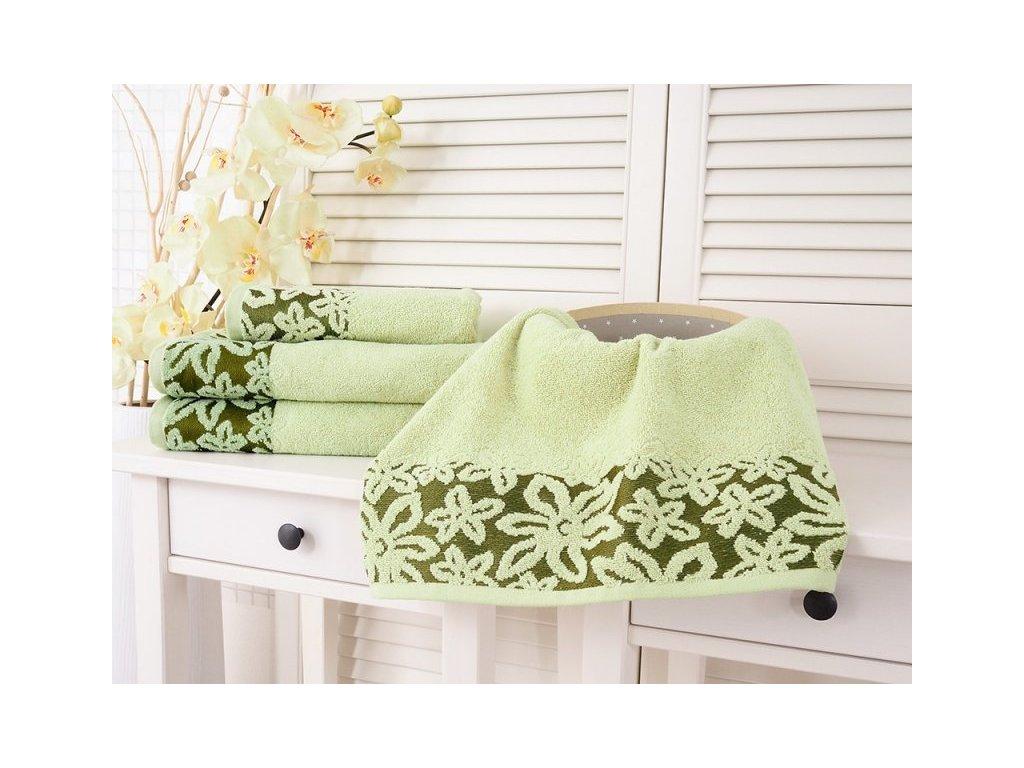 Měkoučký froté ručník Flower světle zelená 50x90