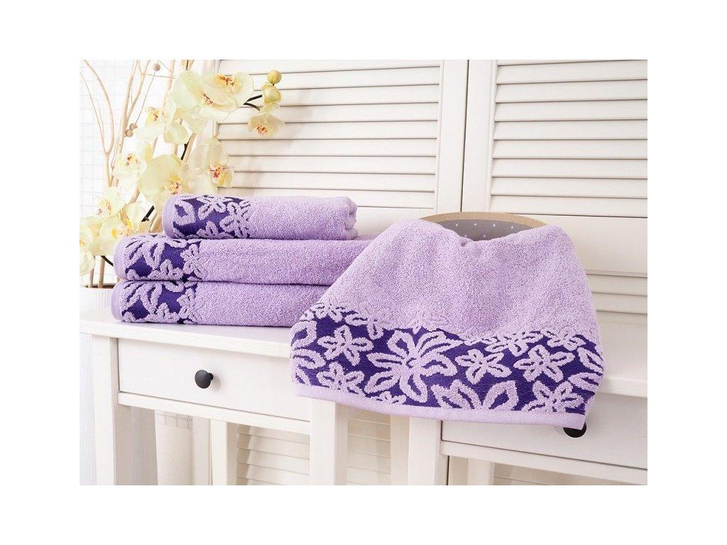 Bavlněný froté ručník s květinovou bordurou fialová 50x90