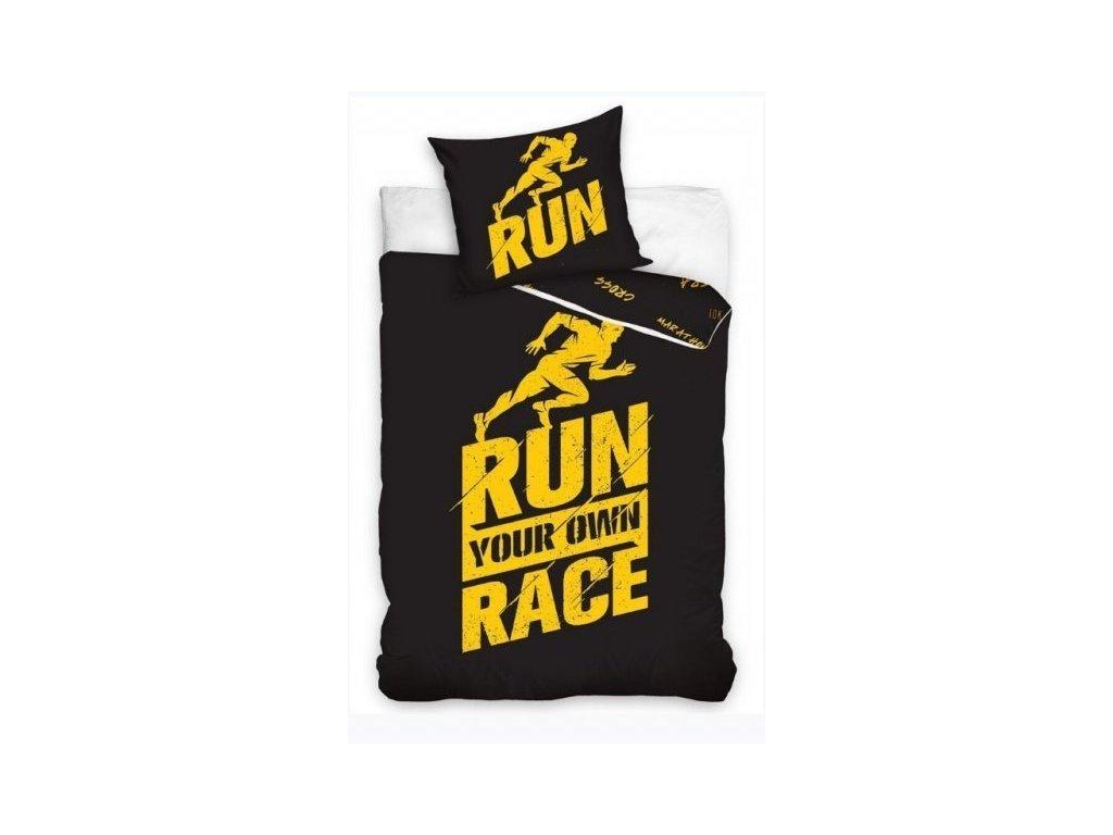 Perkálové povlečení 140x200 + 70x90 cm - Run Race černé