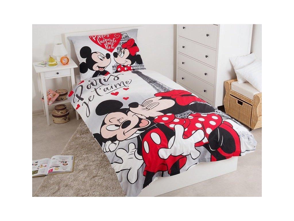 Bavlněné povlečení 140x200 + 70x90 cm - Mickey a Minnie v Paříži